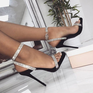 Sequined Silver Crystal Chain Strap Thin High Heel