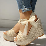 Open Toe Lace Leisure Bow Detail High Heels Platform Wedge Sandals