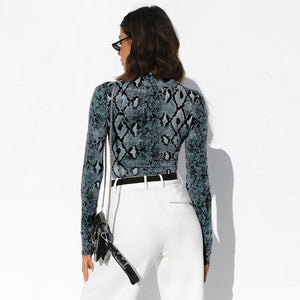 Snakeskin Grain Print Turtleneck Long Sleeve Bodysuit