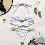 Crystal Decorated Straps Triangle Bandage Push Up Micro Bikini