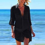 Button Down with Front Pockets Perspective Long Sleeve Cover Up