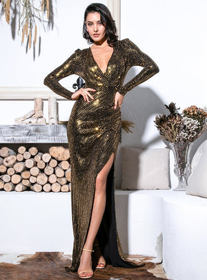 Deep V-Neck Cut Out Puff Sleeves Glitter Sequin Dress