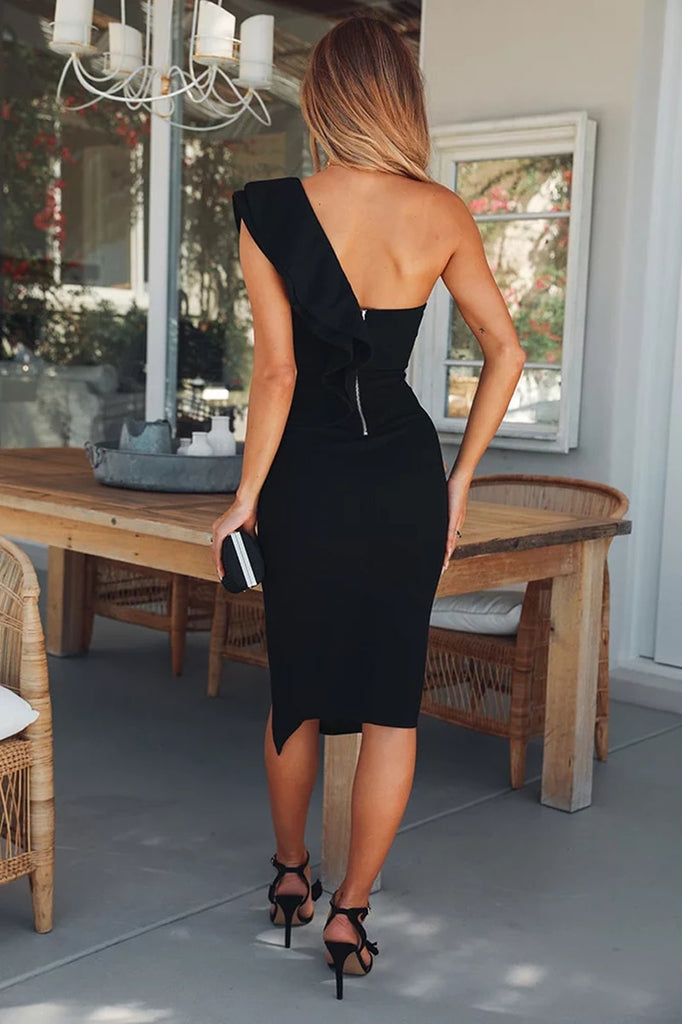 One Shoulder Ruffles Side Slit Bodycon Dress