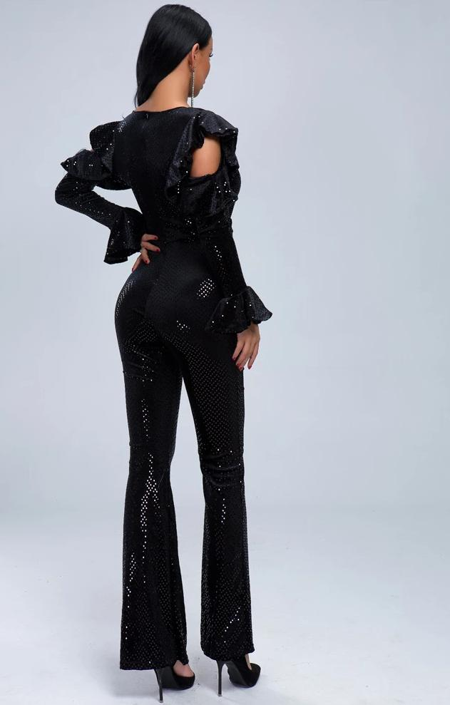 Speaker Long Sleeve Deep V Neck Dot Print Jumpsuit