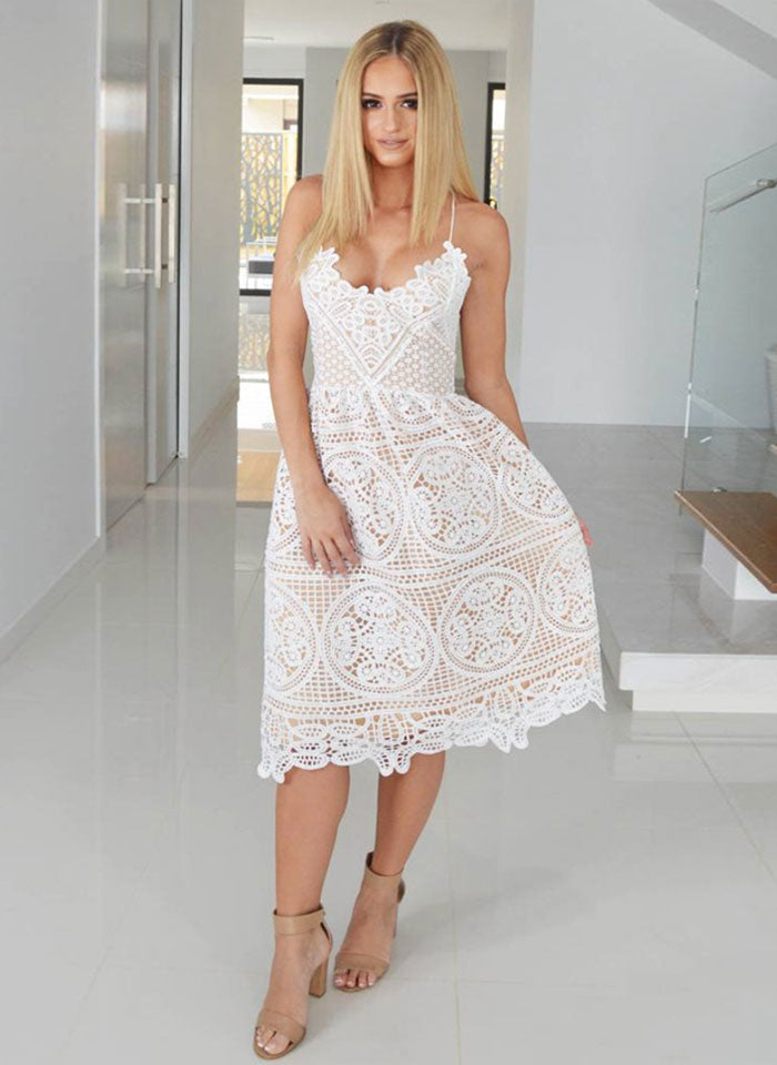 Lace Deep V Neck Backless Sleeveless Halter Midi Dress