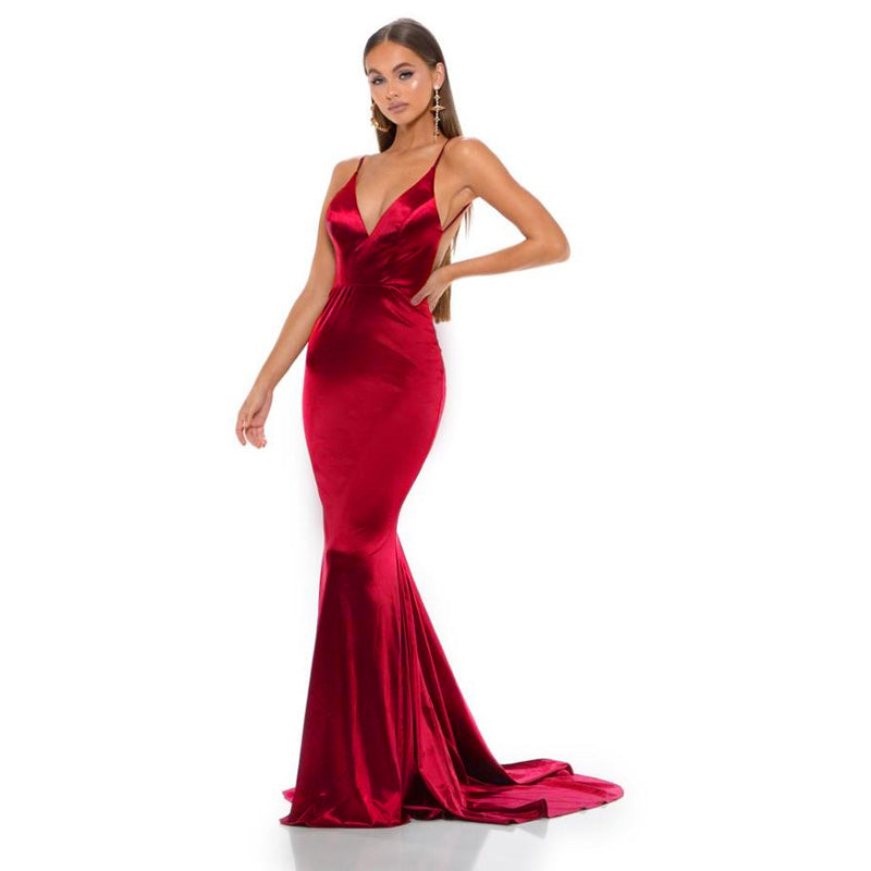 Deep V-Neck Burgundy Floor Length Mermaid Bodycon Dress
