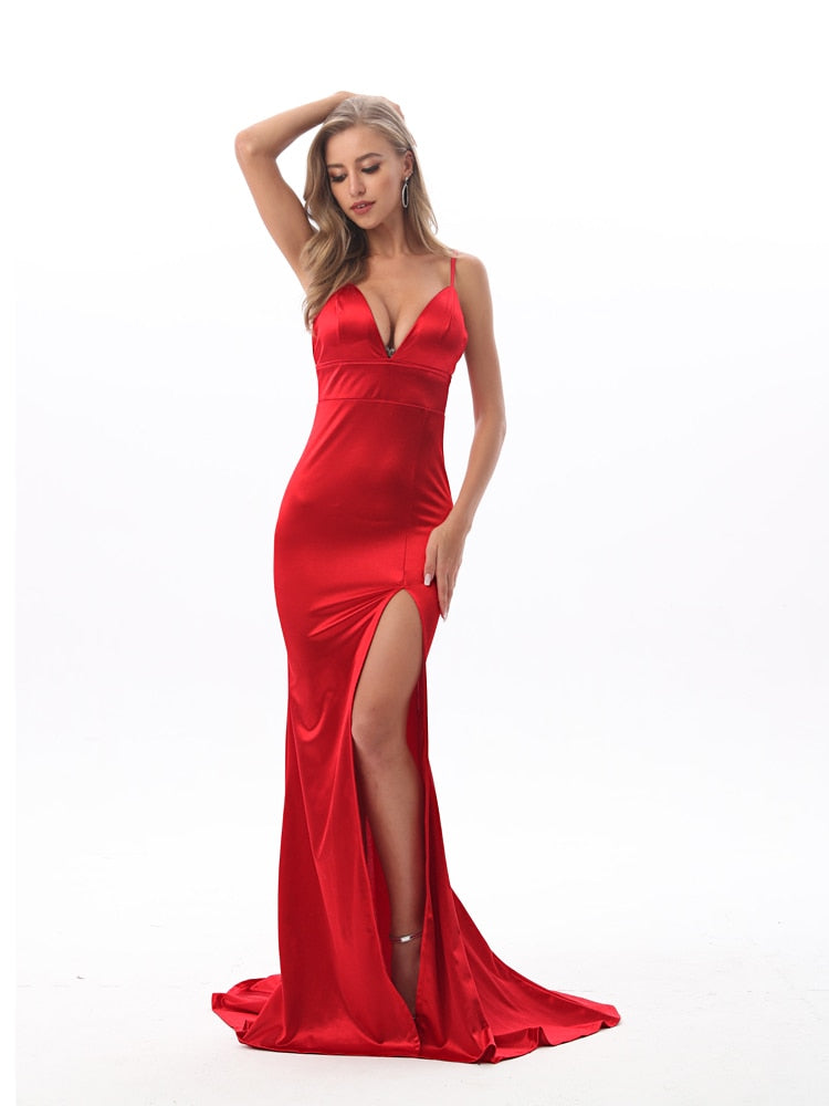 Backless Zipper High Split Long Floor Length Bodycon Dress