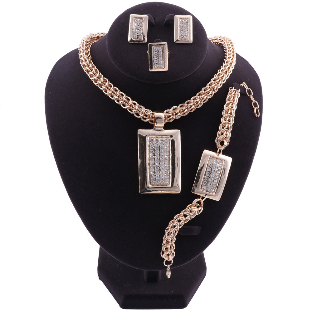 Crystal African Bead Rectangle Pendant Jewelry Set