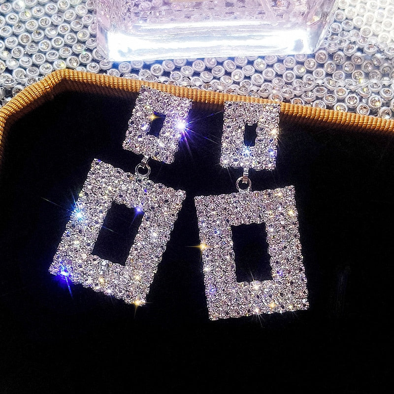 Double Square Luxury Crystal Geometric Drop Earrings