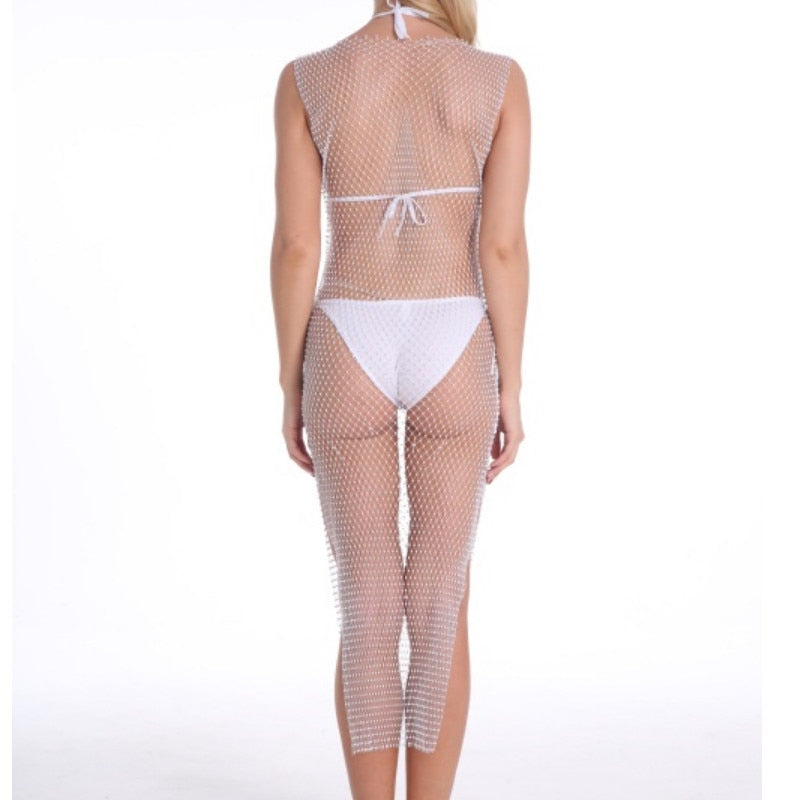 Shiny Crystal Fishnet Sleeveless Bikini Cover Up