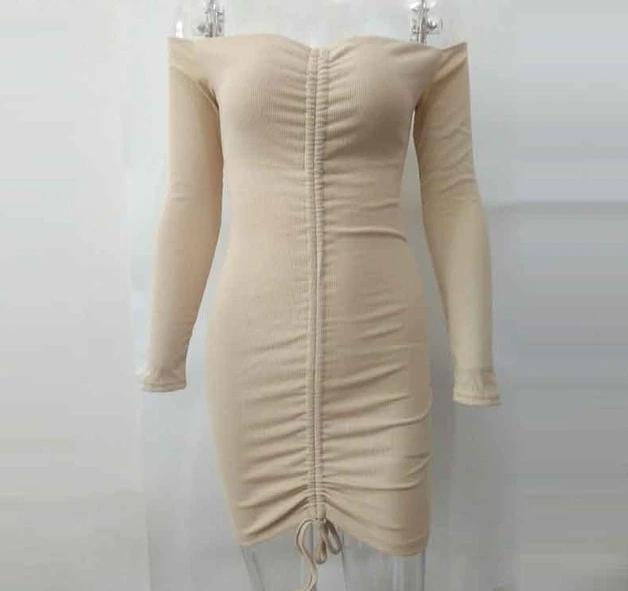 Off Shoulder Ruched Drawstring Long Sleeve Bodycon Dress