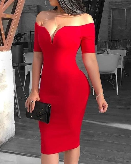 Deep V-Neck Off Shoulder Short Sleeve Solid Sheath Midi Dress
