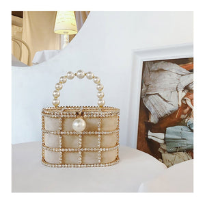 Diamonds Pearl Beaded Metallic Cage Basket Shaped Handbag