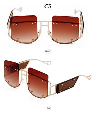 Gradient Rivet Alloy Luxury Square Sunglasses
