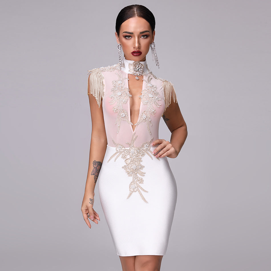 Bandage Fringe Diamond Openwork High O-Neck Bodycon Dress