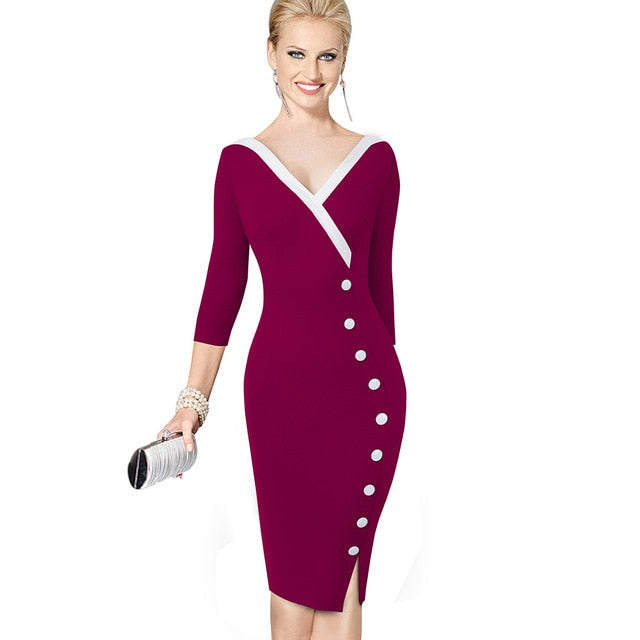 Mature Elegant V-Neck Stylish Button Bodycon Dress