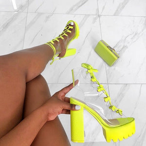 Peep Toe PVC High Heel Platform Ankle Lace Up Boots Sandals