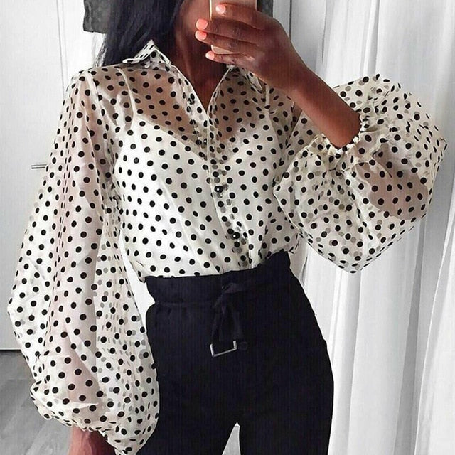 Polka Dot Loose Button Puff Sleeve Blouse