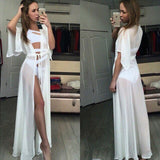 Chiffon Sheer Half Sleeve Sash Loose Cover Up