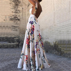 Floral Print Bow Straps Sleeveless V-Neck Backless Maxi Dress