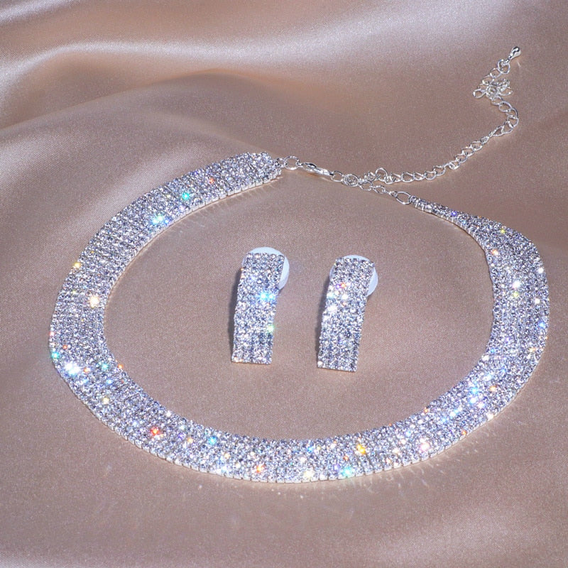 Crystal Round Necklace Drop Earrings Luxury Jewelry Set