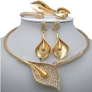 Calla Lily Flower Inspired Crystals Statement Jewelry Set