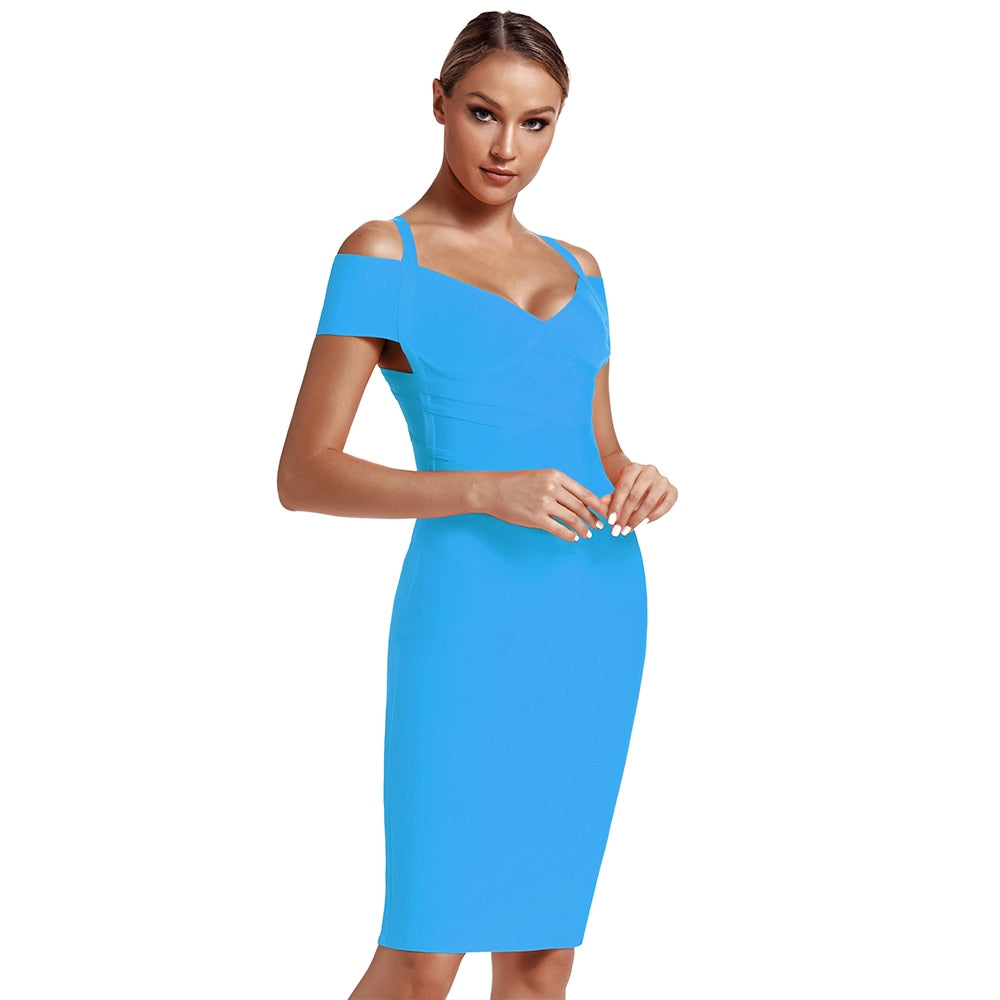Off Shoulder Thick Strap Sleeveless V Neck Zipper Bodycon Dress
