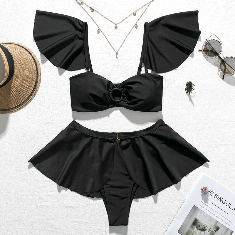 Ruffle Sleeve Top High Waist Thong Skirt Bikini