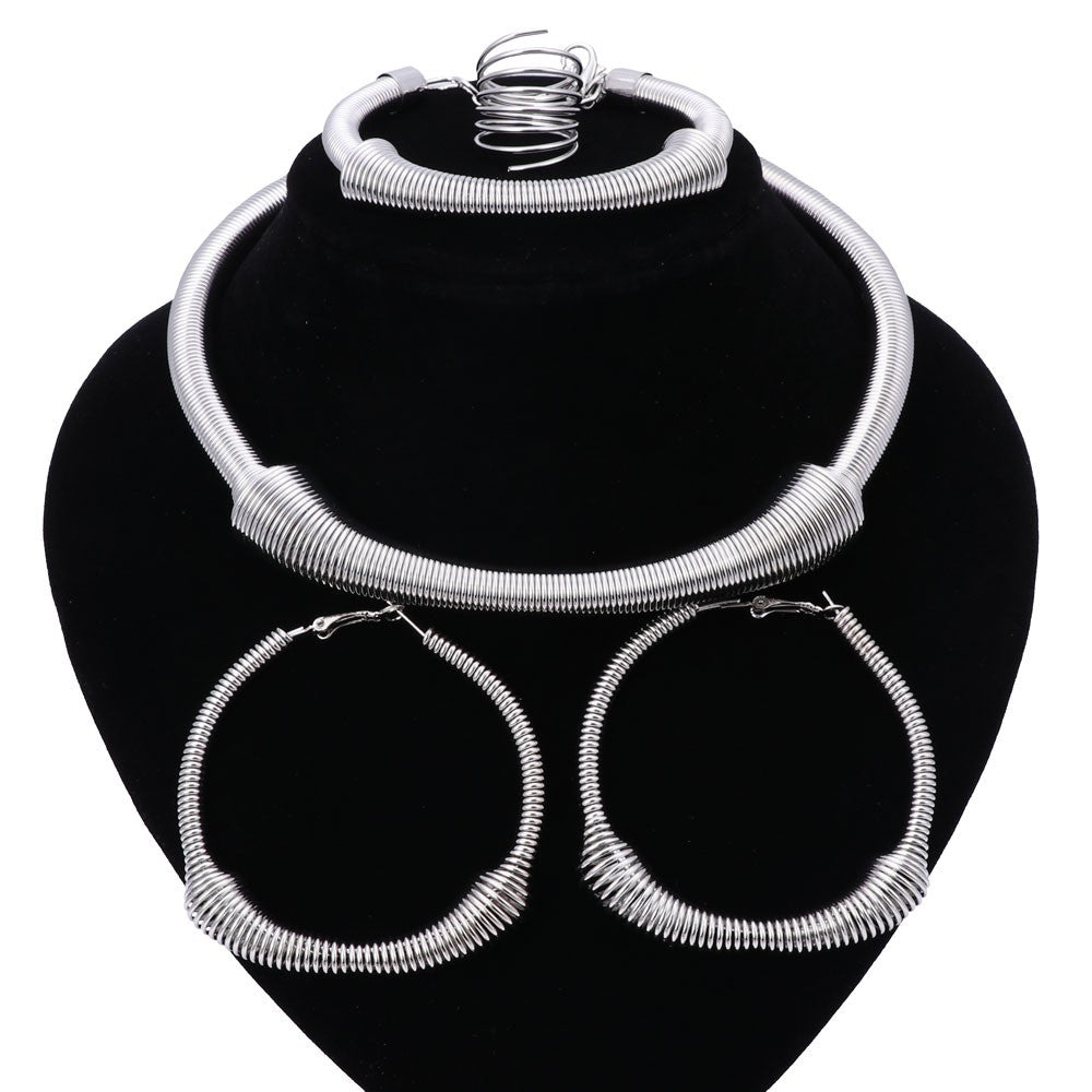 Big Round Necklace Hoop Earrings Jewelry Set