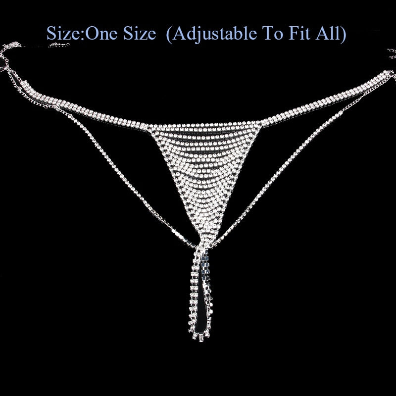 Draped Rhinestone Crystal Thong Bikini Adjustable Panties Chain