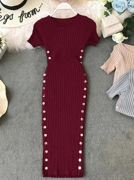 Elegant Button O-Neck Knitted Bodycon Dress