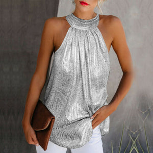 Glitter High Neck Sleeveless Halter Loose Blouse