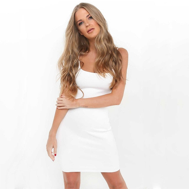 Elegant Backless Spaghetti Straps Bodycon Dress