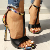 Floral Print T Strap Open Toe Super High Heel
