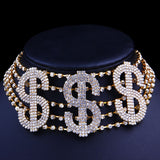 Dollar Sign Rich Letters Full Rhinestone Statement Choker Necklace