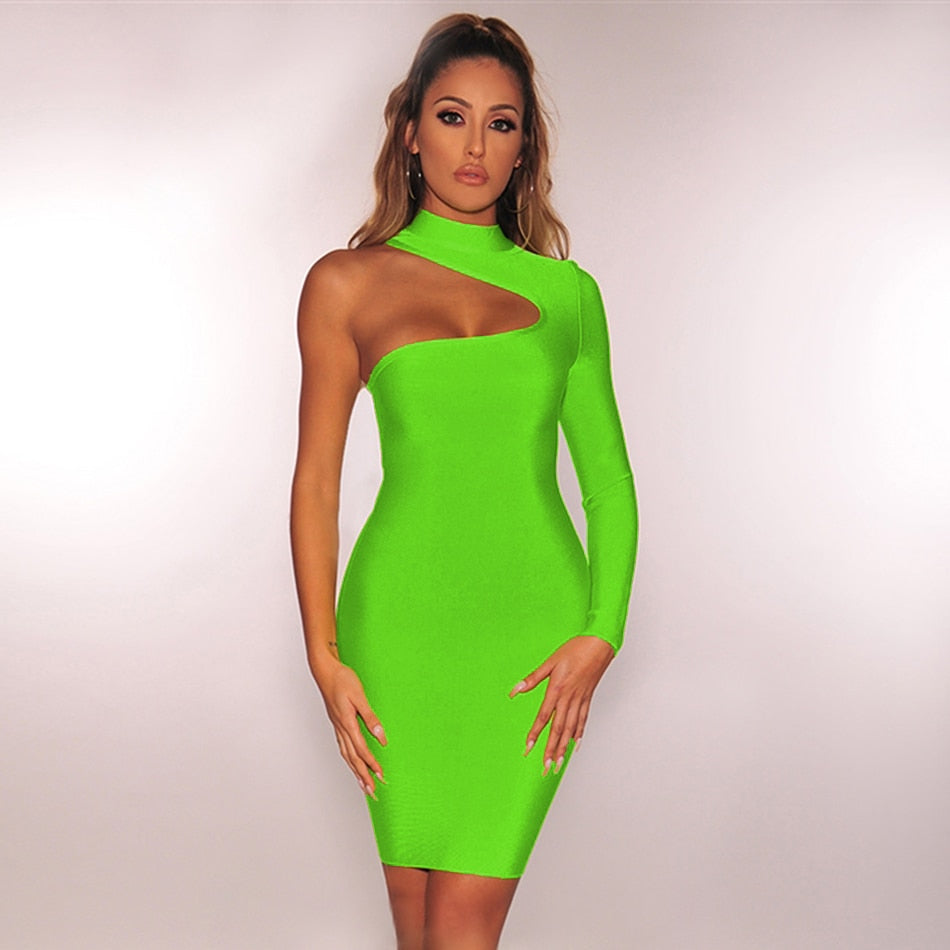 O Neck Hollow One Shoulder Long Sleeve Bodycon Dress