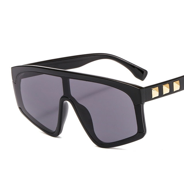 Flat Top Gradient Rivet Oversized Mirror Lens Square Sunglasses