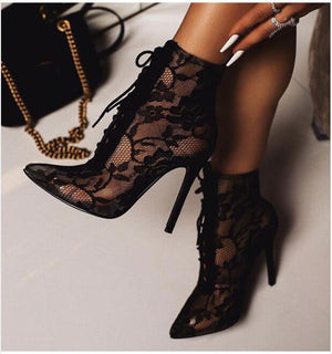 Pointed Toe Perspective Mesh Embroidery Floral Lace-Up Thin High Heels Ankle Boots