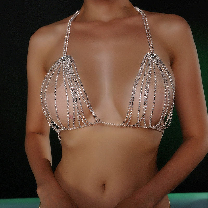 Crystal Bling Bra Chain Rhinestones Thong Sexy Jewelry
