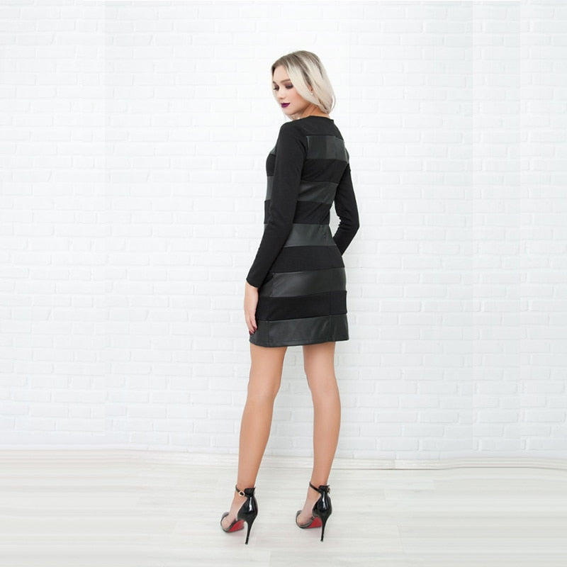 Leather Patchwork Sheath O-Neck Mini Long Sleeve Dress