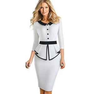 Button Ruffle Contrast Color Patchwork Peplum Bodycon Dress