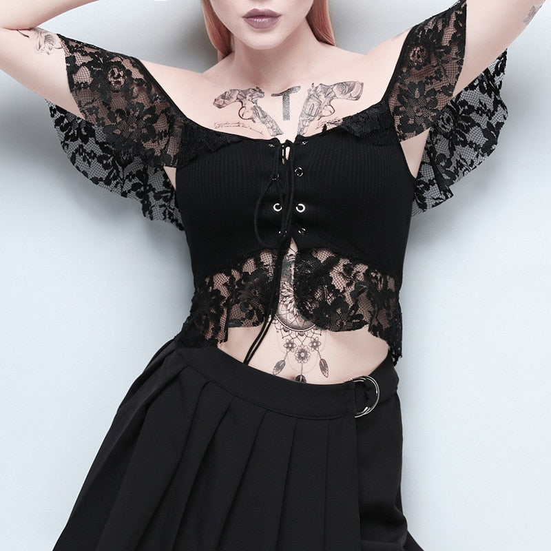 Mesh Hollow Out Eyelet Transparent Patchwork Slash Neck Crop Top