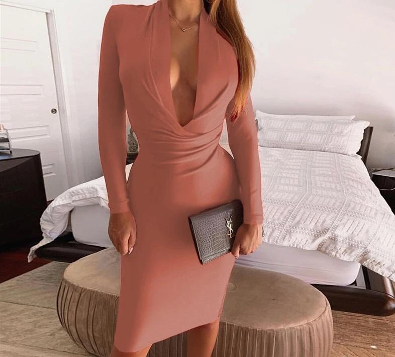 Long Sleeve V Neck Ruched Bodycon Dress