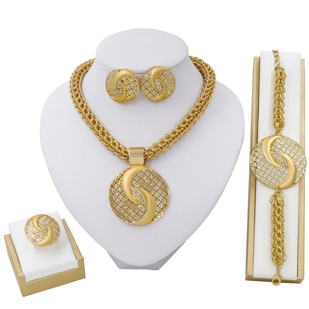 Big Gold Round Rhinestone Necklace Earring Ring Jewelry Set
