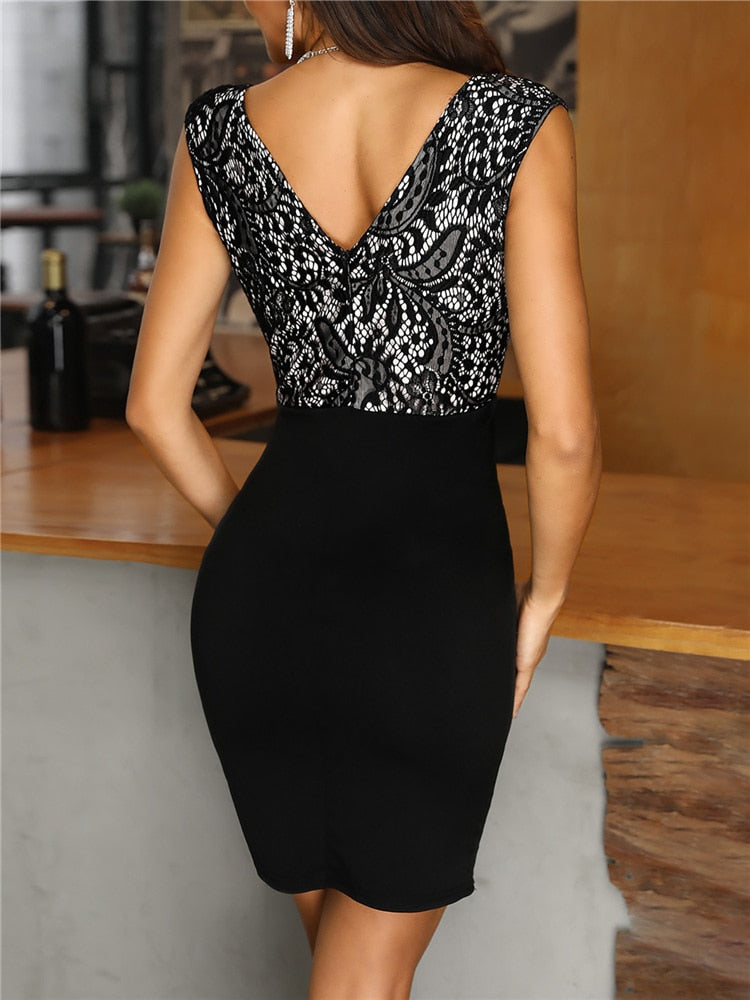 Lace Splicing Sleeveless Sheath Mini Bodycon Dress