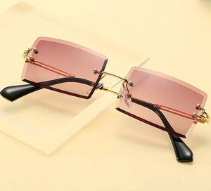 Rectangle Rimless Alloy Square Sunglasses