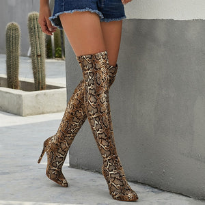 Serpentine Print Pointed Toe High Heel Long Boots