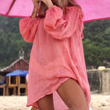 Solid Off Shoulder Kaftan Laced Long Sleeve Cover Up