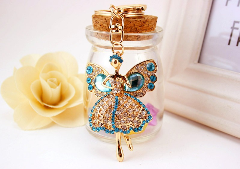 Lucky Angel Wings Elves Crystal Key Chain