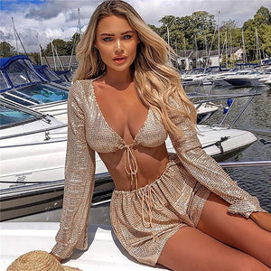 Bling Sequined Low Neckline Full Sleeve Drawstring Two Piece Romper